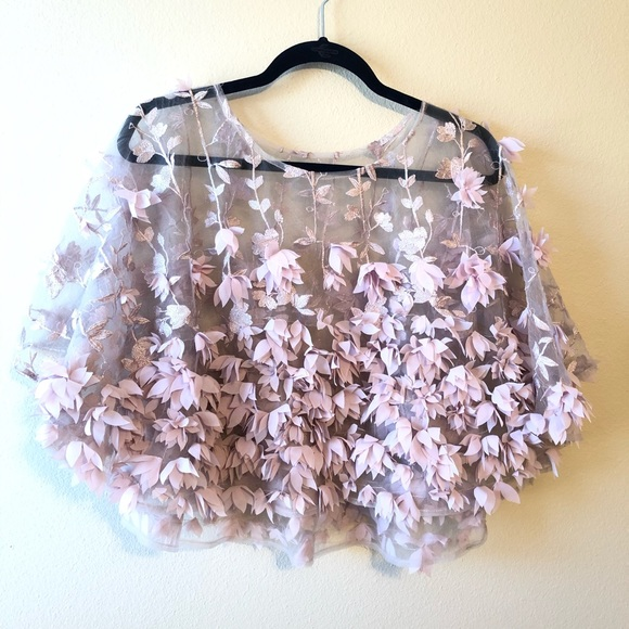 Kate Landry Jackets & Blazers - Kate Landry Sheer 3D Blush Floral Cape